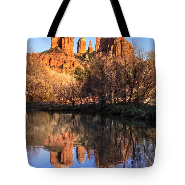 Sunset at Cathedral Rock in Sedona AZ Tote Bag by Teri Virbickis