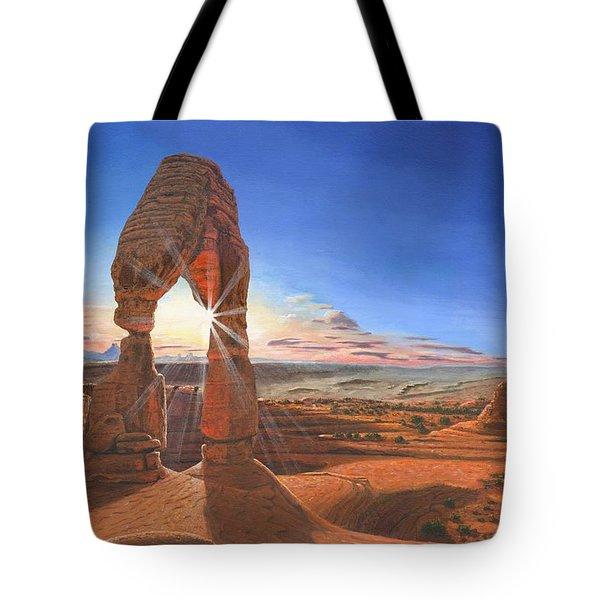 Sunset At Delicate Arch Utah Tote Bag by Richard Harpum