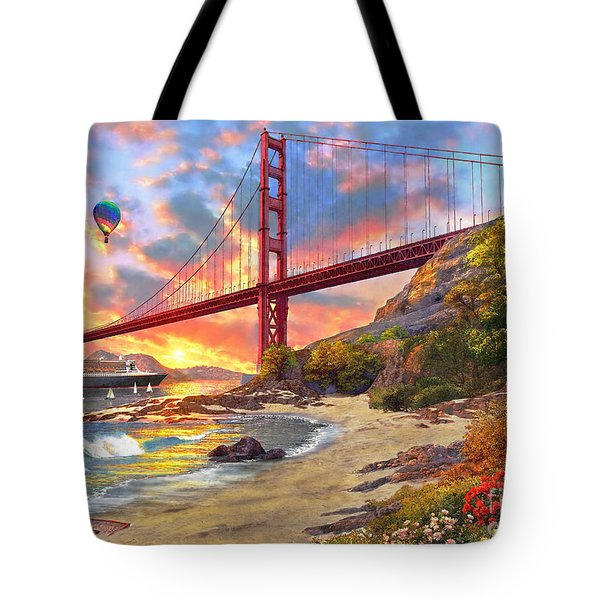 Sunset At Golden Gate Tote Bag by Dominic Davison