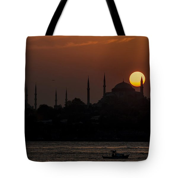 Sunset At Historical Peninsula In Istanbul Tote Bag by Ayhan Altun