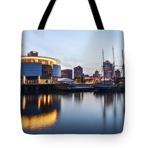 Sunset at the Dock Tote Bag by CJ Schmit