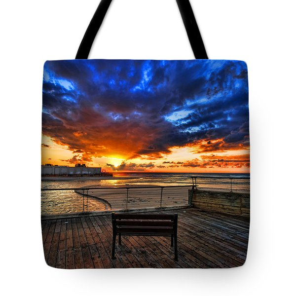 sunset at the port of Tel Aviv Tote Bag by Ron Shoshani