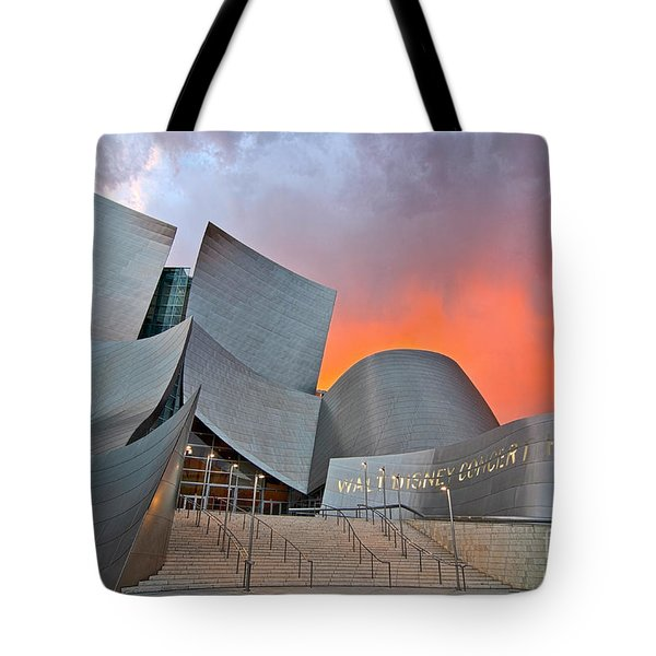 Sunset At The Walt Disney Concert Hall In Downtown Los Angeles. Tote Bag by Jamie Pham