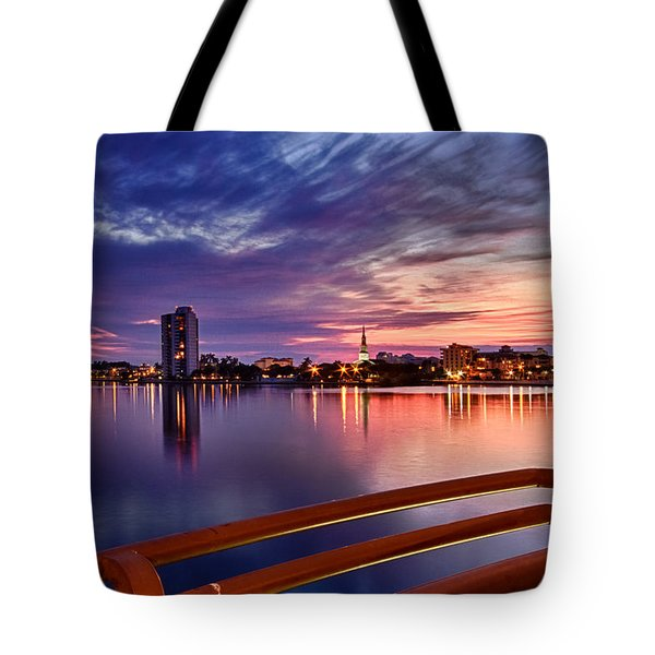 Sunset Balcony Of The West Palm Beach Skyline Tote Bag by Debra and Dave Vanderlaan