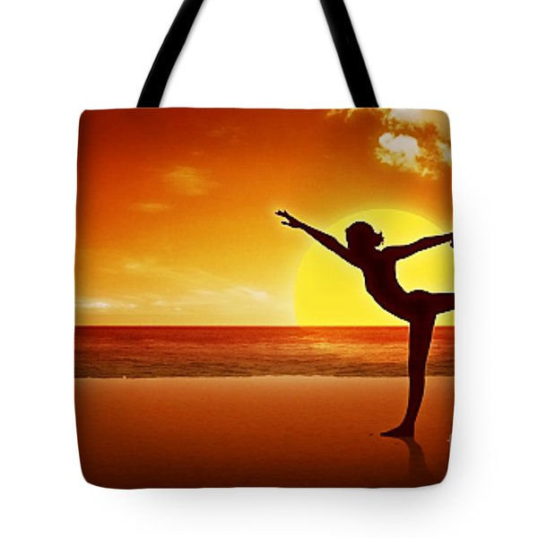 Sunset Beach Yoga Tote Bag by M and L Creations