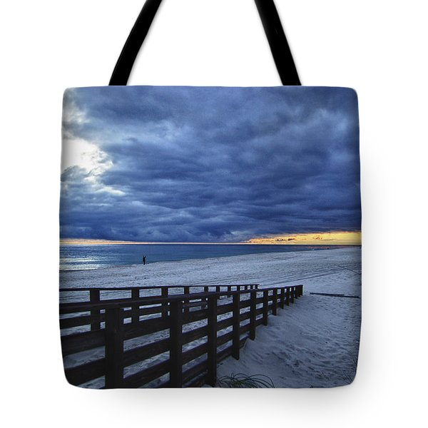 Sunset Boardwalk Tote Bag by Michael Thomas