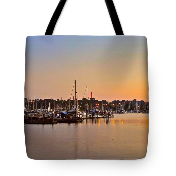 Sunset Fishing Tote Bag by Frozen in Time Fine Art Photography