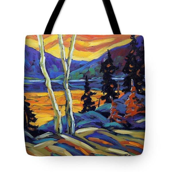 Sunset Geo Landscape Original Oil Painting By Prankearts Tote Bag by Richard T Pranke