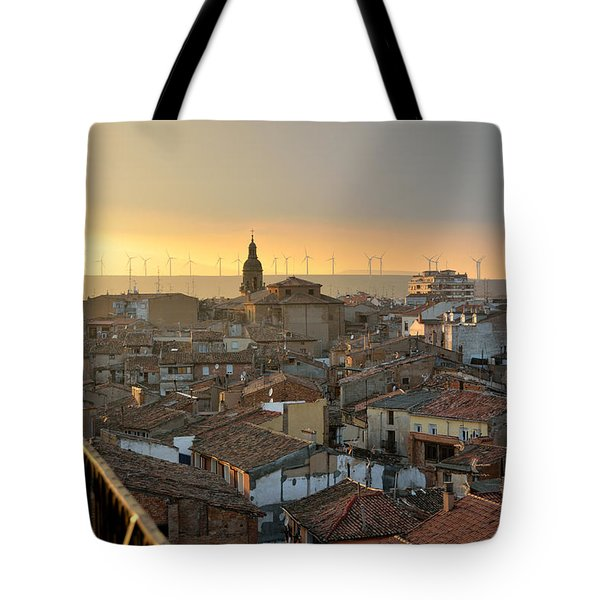 Sunset in Calahorra from the bell tower of Saint Andrew church Tote Bag by RicardMN Photography