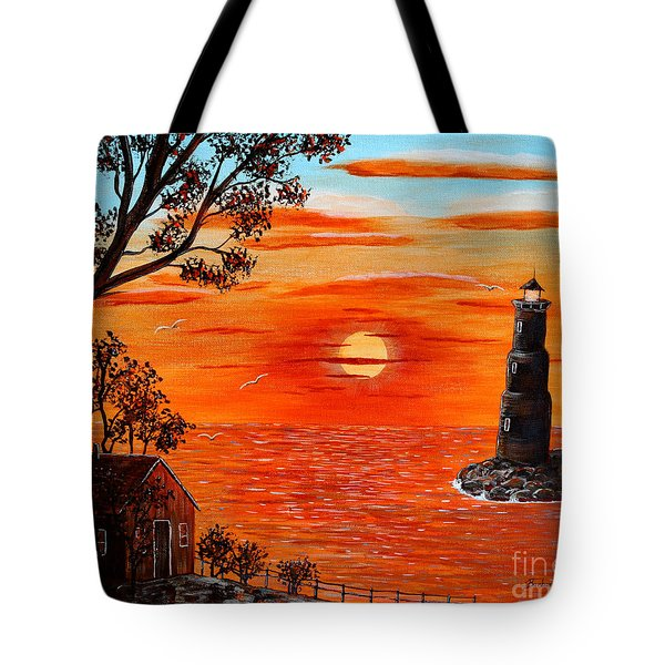 Sunset Lighthouse Tote Bag by Barbara Griffin