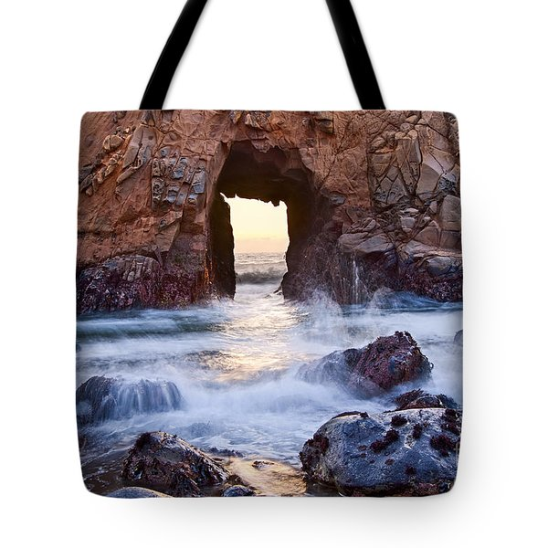 Sunset On Arch Rock In Pfeiffer Beach Big Sur California. Tote Bag by Jamie Pham