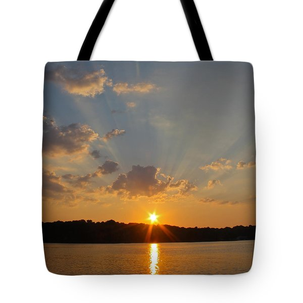 Sunset On The Bay Tote Bag by Justin Connor