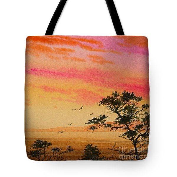 Sunset on the Coast Tote Bag by James Williamson