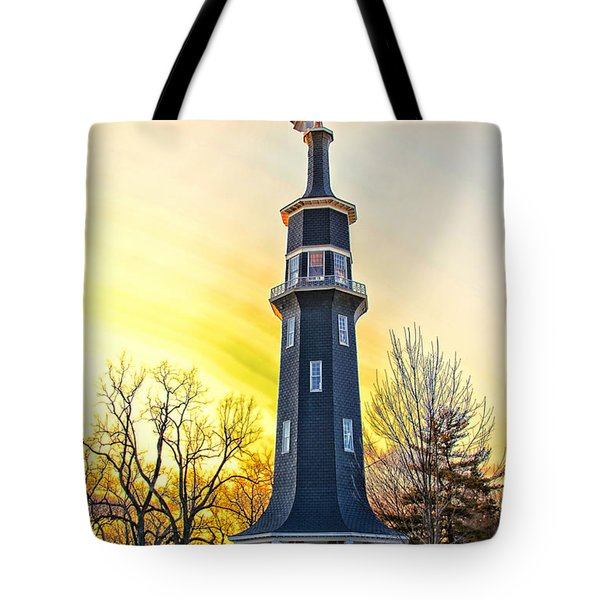 Sunset On The Dwight Windmill Tote Bag by Thomas Woolworth