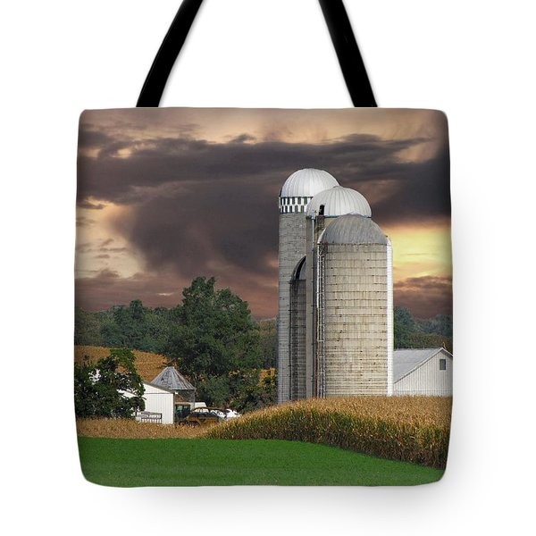 Sunset On The Farm Tote Bag by David Dehner