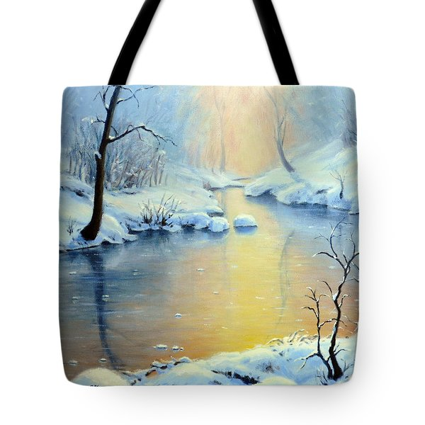 Sunset On The Sunrise River Tote Bag by Rick Hansen