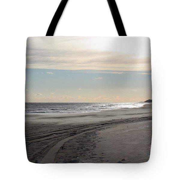 Sunset over Atlantic Ocean in Montauk Tote Bag by JOHN TELFER