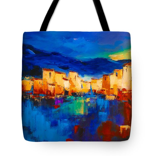Sunset Over the Village Tote Bag by Elise Palmigiani