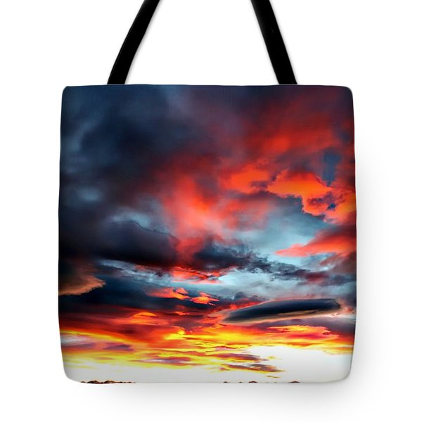 Sunset Sky Melts Into The Sangre De Cristo Mountains Tote Bag by Barbara Chichester