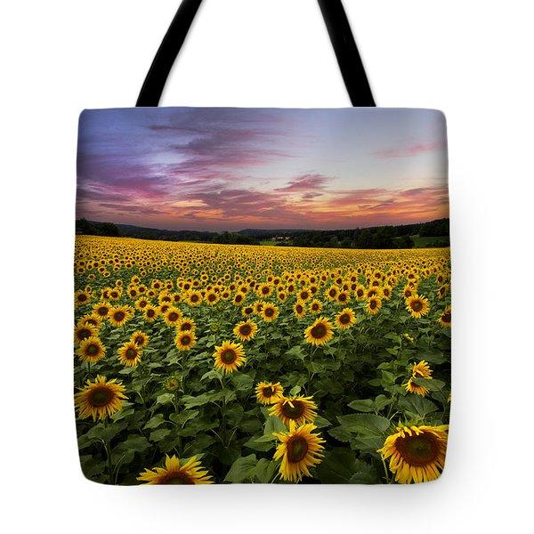 Sunset Sunflowers Tote Bag by Debra and Dave Vanderlaan