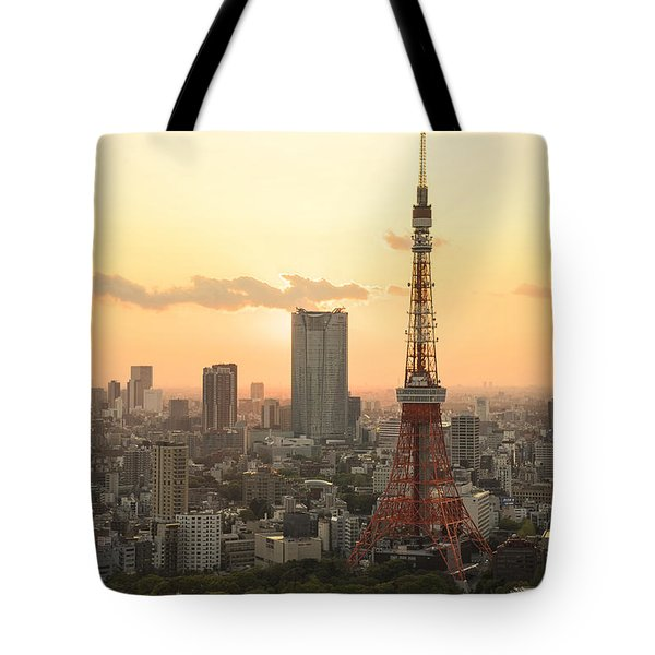 Sunset Tokyo Tower Tote Bag by For Ninety One Days