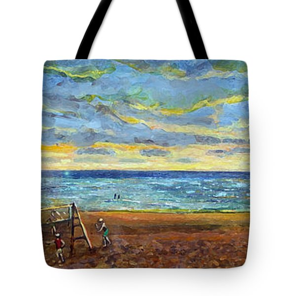 Sunset Volleyball At Old Silver Beach Tote Bag by Rita Brown