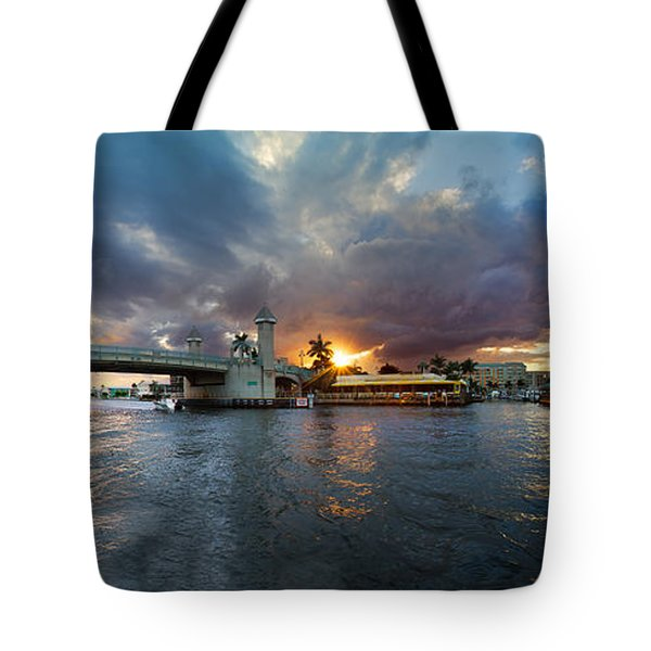 Sunset Waterway Panorama Tote Bag by Debra and Dave Vanderlaan