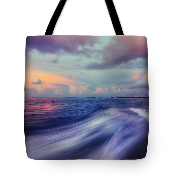 Sunset Wave. Maldives Tote Bag by Jenny Rainbow