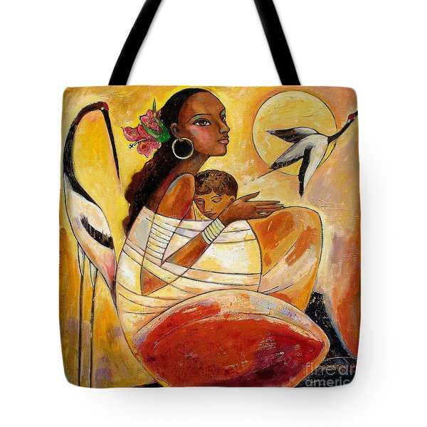 Sunshine Mother And Child Tote Bag by Shijun Munns