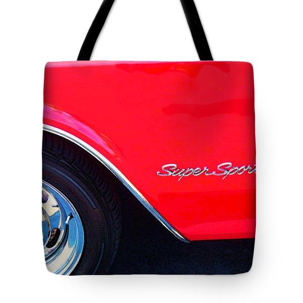 Super Sport - Chevy Impala Classic Car Tote Bag by Sharon Cummings