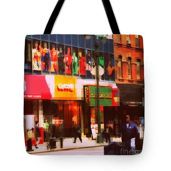 Superheroes Of New York - Midtown In Gotham City Tote Bag by Miriam Danar
