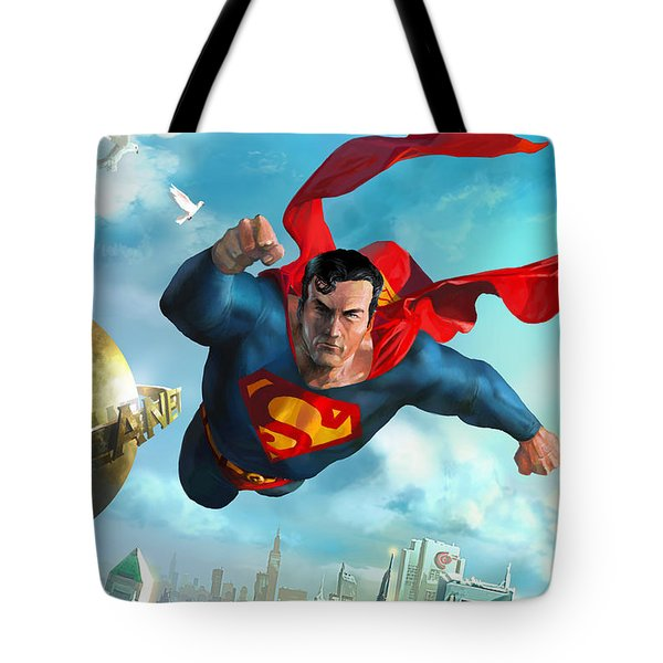 Superman Over Metropolis Tote Bag by Ryan Barger
