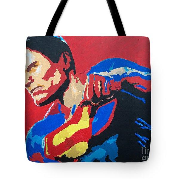 Superman - Red Sky Tote Bag by Kelly Hartman