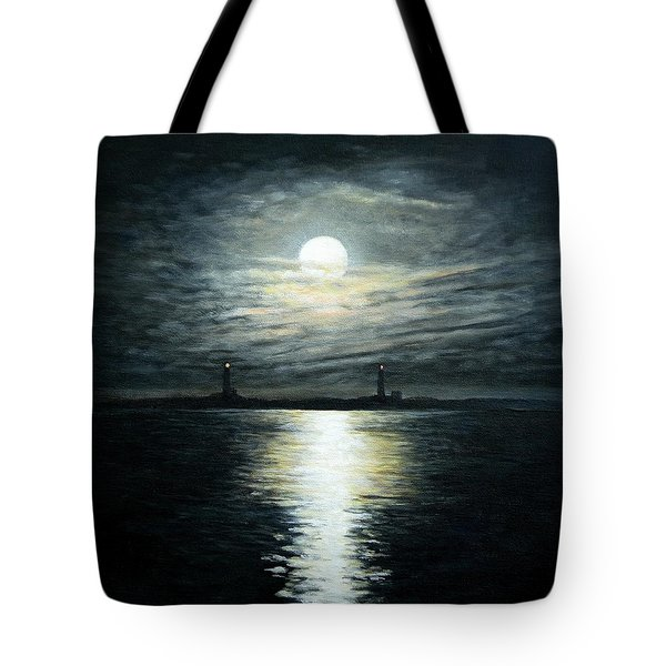 Supermoon Rising Over Thacher Island Tote Bag by Eileen Patten Oliver