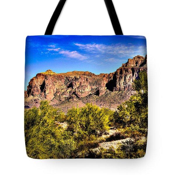 Superstition Mountain Arizona Tote Bag by  Bob and Nadine Johnston