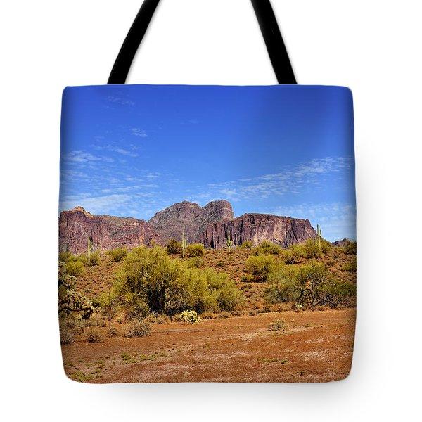 Superstition Mountains Arizona - Flat Iron Peak Tote Bag by Christine Till