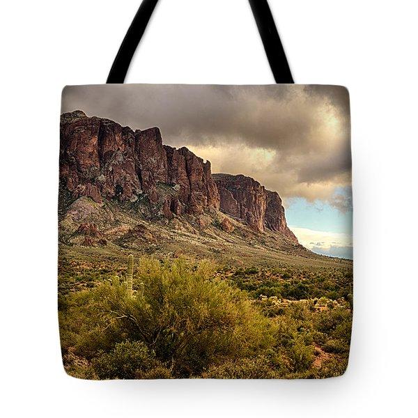 Superstition Mountains Tote Bag by Saija  Lehtonen