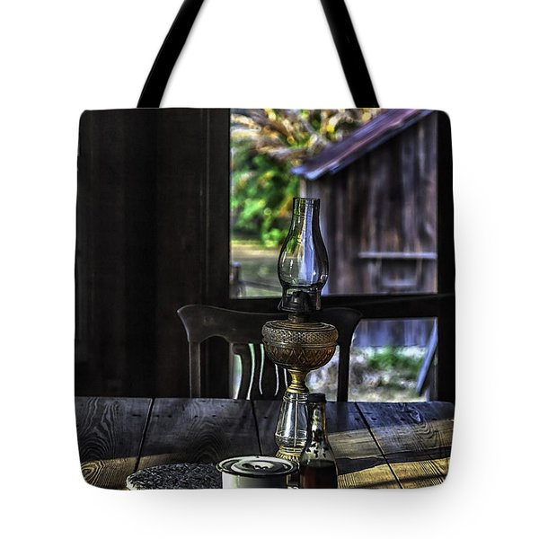 Suppertime In A 1850s Cracker Kitchen Tote Bag by Lynn Palmer