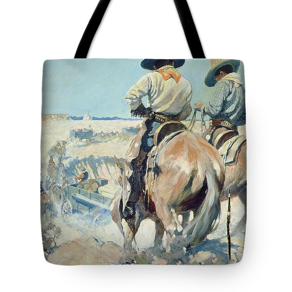 Supply Wagons Tote Bag by Newell Convers Wyeth