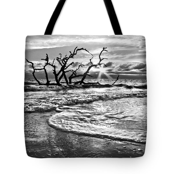 Surf at Driftwood Beach Tote Bag by Debra and Dave Vanderlaan