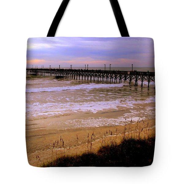 Surf City Pier Tote Bag by Karen Wiles