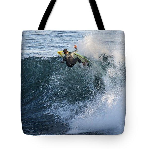 Surfer at Steamer Lane Tote Bag by Bruce Frye