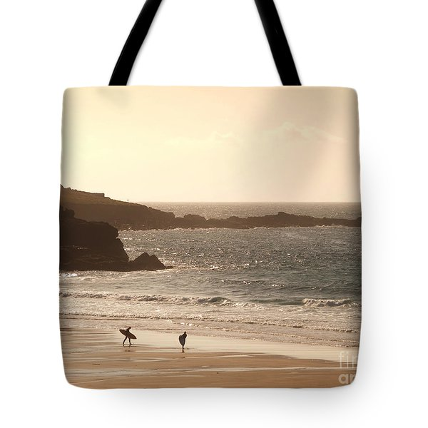Surfers On Beach 03 Tote Bag by Pixel Chimp