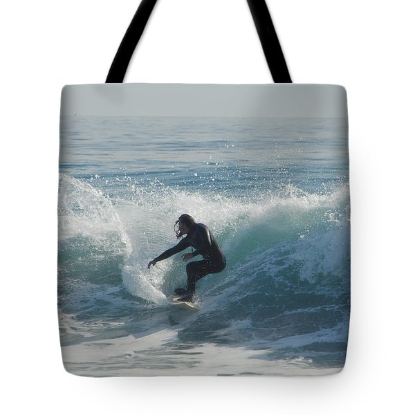 Surfing In The Sun Tote Bag by Donna Blackhall