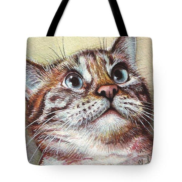Surprised Kitty Tote Bag by Olga Shvartsur