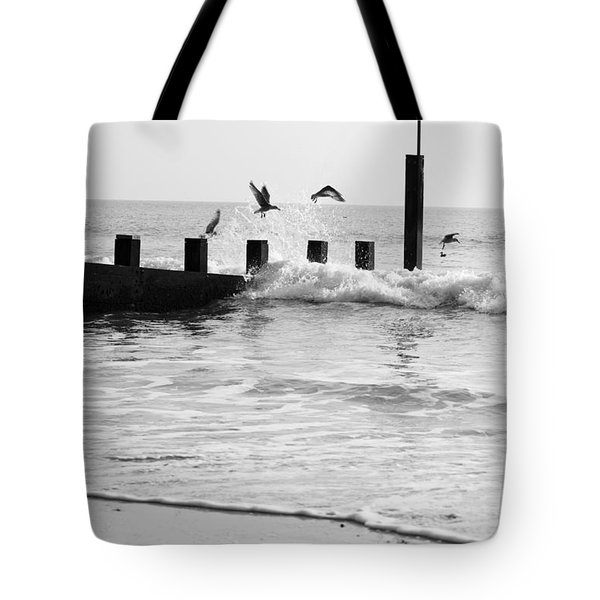 Surprised Seagulls Tote Bag by Anne Gilbert