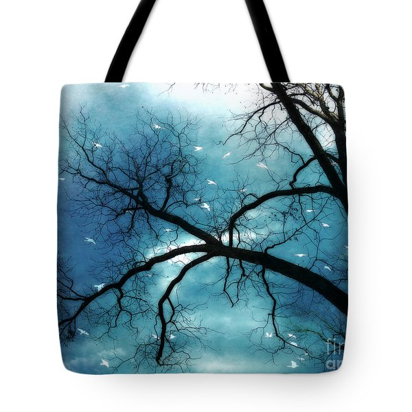 Surreal Fantasy Haunting Gothic Tree With Birds Tote Bag by Kathy Fornal