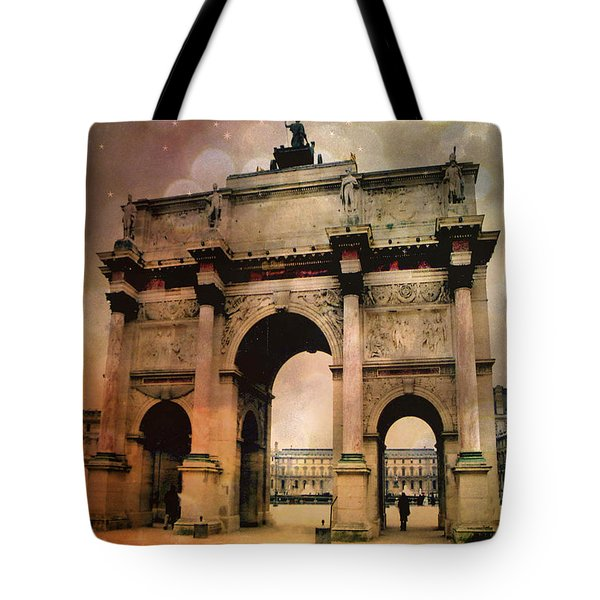 Surreal Paris Arc De Triomphe Louvre Arch Courtyard Sepia Soft Bokeh Tote Bag by Kathy Fornal