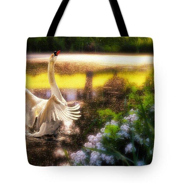 Swan Lake Tote Bag by Lois Bryan