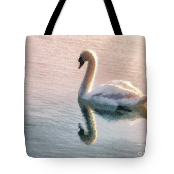 Swan On Lake Tote Bag by Pixel  Chimp